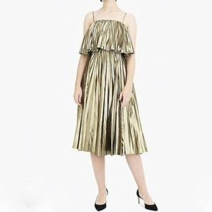 J. Crew Collection Pleated Midi Dress Gold